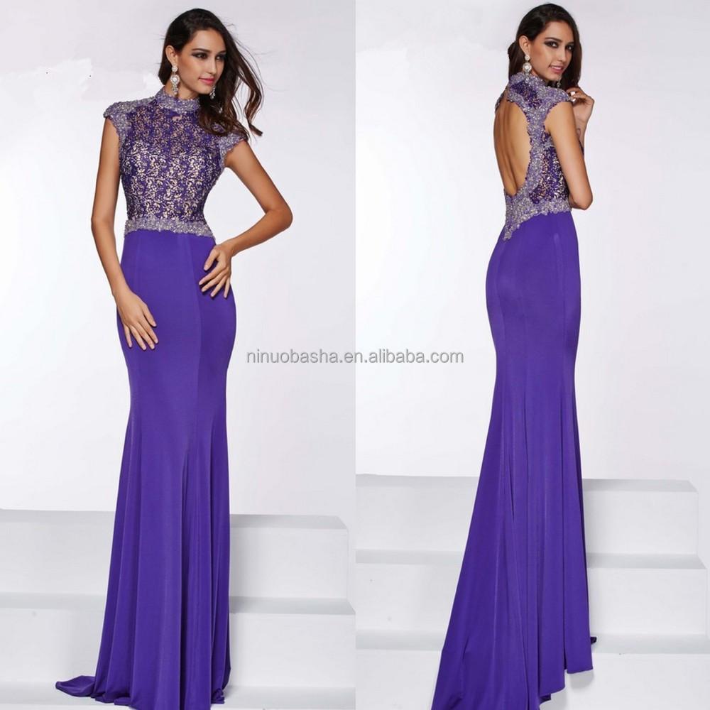 2015 Sexy Purple Long Sheath Prom Dress High Neck Cap Sleeve Keyhole ...