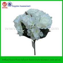 """13"""" Vases Artificial Flowers Roses And Hydrangeas Bush"""
