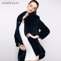 Korea style women winter black mink coat fur coat