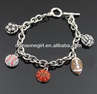 Rhinestone Winged Basketball Beads Stretch Bracelet