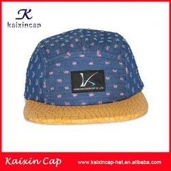 wholesale black woven label patch floral fabric hat crown yellow snakeskin brim 5 panel cap