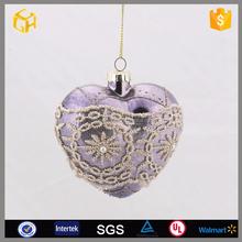 2016 Heart shaped christmas nativity hanging glass ball
