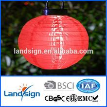 landsign Rechargeable Battery silk+plastic hanging solar lantern for outside XLTD-200