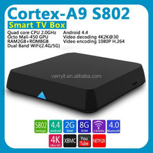 Amlogic s802 Quad Core Android 4.4 Smart Set Top TV Box, XBMC 3D android blu ray player 4K Streaming Media Player