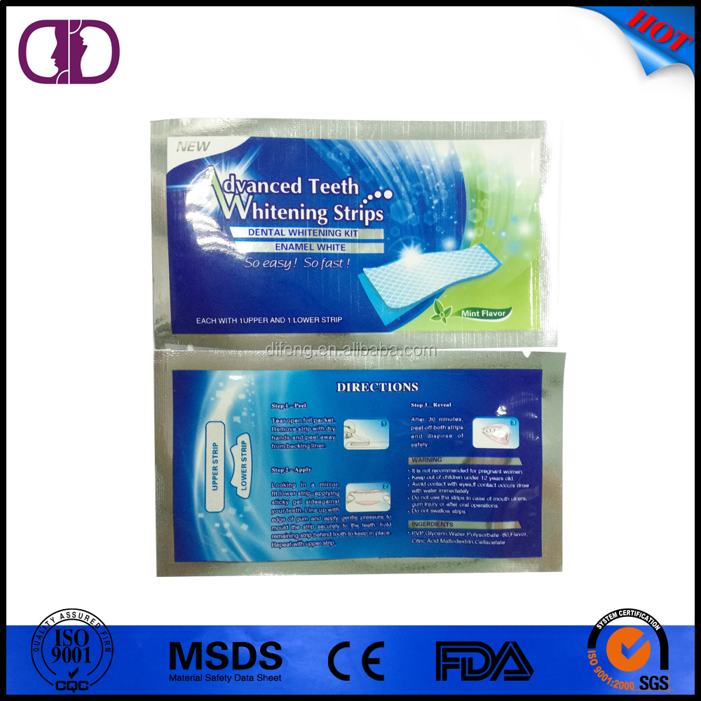 Advanced non peroxide home teeth whitening strips oem for Advanced home