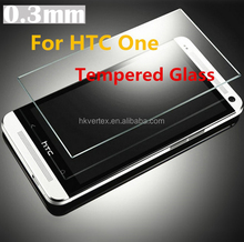 0.3mm HTC one M7 Premium Tempered Glass Screen Protector Protective film HTC one M7 Retina Display With Package