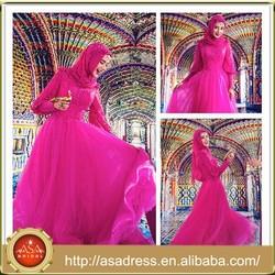 MSL101 Long Sleeve Saudi Arabia Gelinik Islamic Red Hijab Muslim Wedding Gown