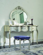 Bisini New Classical Furniture, Solid Wood Champagne Silver Dresser with Mirror