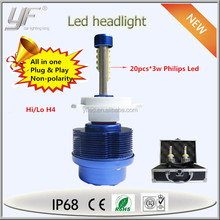 2015 New All in One Replaces Halogen & HID Bulbs Super Bright 60W 4800LM High Power High Low Beam Car H4 Headlamp Led Bulb
