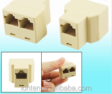2 Pcs Khaki 3 maneira RJ45 LAN Ethernet Splitter Connector