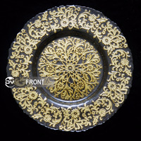 2015 DAYA Dishes & Plates Dinnerware Embossed Flower Pattern Gold Show Plate