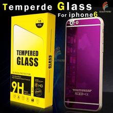 200pcs Full Screen Color Mirror Effect Front Back Protector Premium Tempered Glass protective film For iPhone 6 plus 5.5
