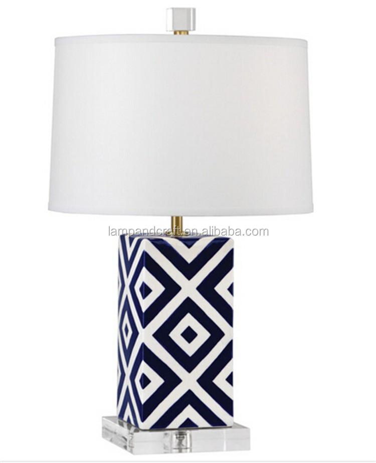 산토리니 테이블 램프 유리 세라믹 파란색과 흰색 새틴 장식 ...