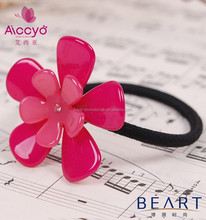 Handmade acrylic flower cover elastic hair band /little girls fabric scrunchy