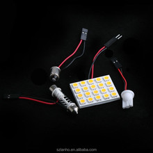 20 SMD 5050 LED Car Interior Light Panel T10 Dome BA9S Adapter Warm White