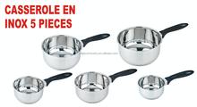 New hot 5pcs stainless steel Mirror Polishing Outside and Inside Straight Shape Casserole set Saucepan set cookware sets