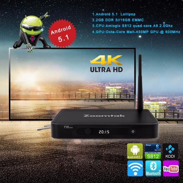 Amlogic S812 4k Android 5.1 free to air black box iptv internet tv receiver