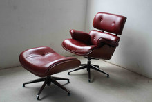 Rosewood Veneer Black Genuine Leather Eames Lounge Replica Red Leather Charles Eames Lounge Chair and Ottoman