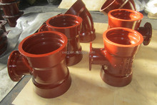 Double socketed flange tee, reducer tee