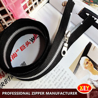 2015 hot sale silver custom pull metal zipper , fashion clothes zipper