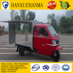 2015 hot selling moving shop closed cargo motor tricycle