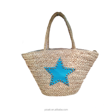 Ladies fashion blue lucky star natural straw bag