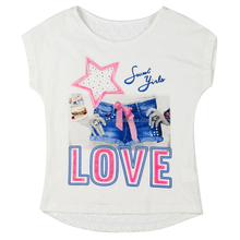 Cotton Polyester Water Printing White Short Sleeve Baby Girl Jersey T-shirt