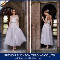 Remarkable A Line Sleeveless Tulle Appliqued Tea Length Wedding Dress Patterns