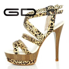 2015 fashion sexy ladies open toe high heel shoes leopard with platform shoes