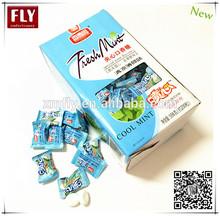 en caja de almohada embalado sabor de menta fresca centro de relleno de goma de mascar candy