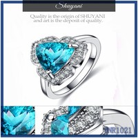 Women diamond rings in stock ! fashion luxury real gold jewelry chile wide silver blue zircon ring