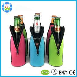 customized portable beer bottle cooler/single bottle wine tote neoprene