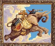40*50cm elephant oil painting, elephant canvas painting