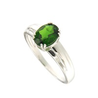 Natural Chrome Diopside 6*8 Oval Ring in Silver new fashion design