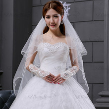 BV233 China Alibaba Wedding Accessories Veil White or Ivory Bridal Veil Beaded Trim