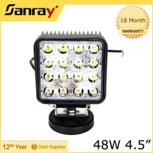 """4.5"""" square waterproof 3040 lumen 48W 24V led work light"""