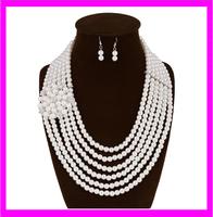 KD5914 wholesale fashion white pearl necklace jewelry set