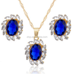 Hot Sale Gold Plated Crystal Star Pendant Necklace Earring Jewelry Sets