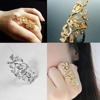 Banquet Gold silver plated alloy rhinestone ring fashion accessories for women hollow exaggerated gold ring designs