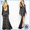 Fashion Party Womens Dress Ladies Long Sleeve V-neck Lace Crotchet Black Lace Party Evening Dresses
