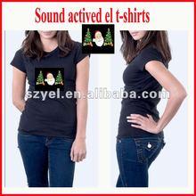 "2012 newly "" Santa Claus"" logo LED sound actived t-shrits for Christmas Festival"
