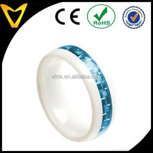 Various Carbon Fiber Inlays Ceramic Ring Wedding Engagement Bands, White Ceramic Domed Ring with Aquamarine Carbon Fiber Inlay