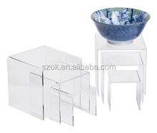 Custom size clear desktop acrylic home furniture riser display stand