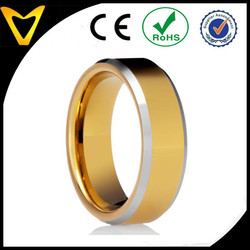Professional Tungsten Ring Factory Direct 7MM Tungsten Carbide Ring Wedding Band Two Tone 14K Gold Plated Tungsten Carbide Ring