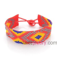 Native American Adjustable Cords Fire Polish Cuff Beads Bracelet