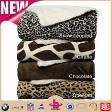 Cheap 2-ply composite with one side mink shu velveteen fluffy adult super soft Animal Print Sherpa Decorative Throw Blankets
