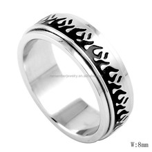 SRR8036 Wholesale Fashion Jewelry Wild Fire Enamel Rotating Ring Gear Ring Personalized Stainless Steel Ring