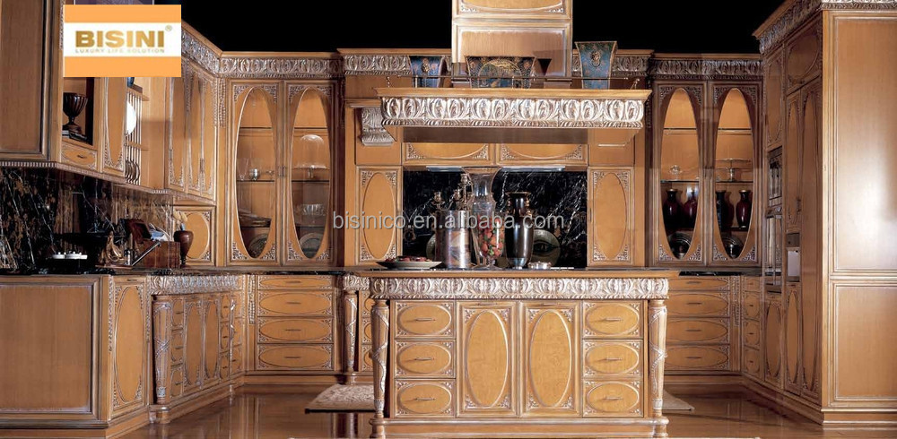luxury solid wood carved kitchen cabinet with gold painting victorian style kitchen furniture. Black Bedroom Furniture Sets. Home Design Ideas
