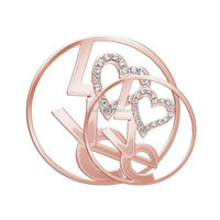Wholesale Fashion Jewelry True Love Heart Rose Gold Coin for Locket Pendant