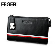 Wholesale Feger Men's Clutch Bag Black Leather Genuine Coin Purse